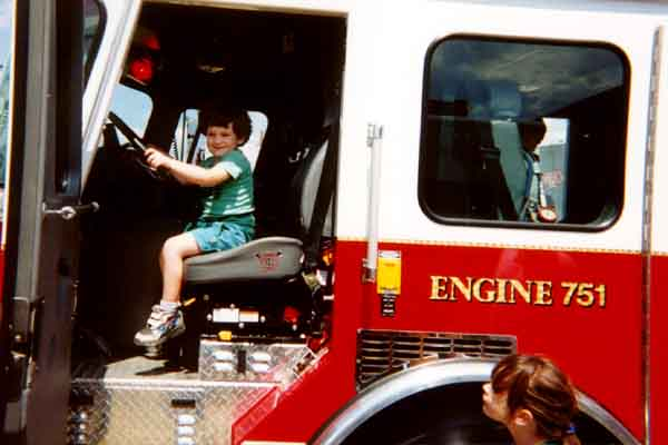 Christopher in fire truck