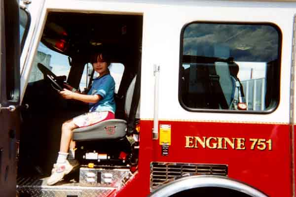 Chantelle in fire truck
